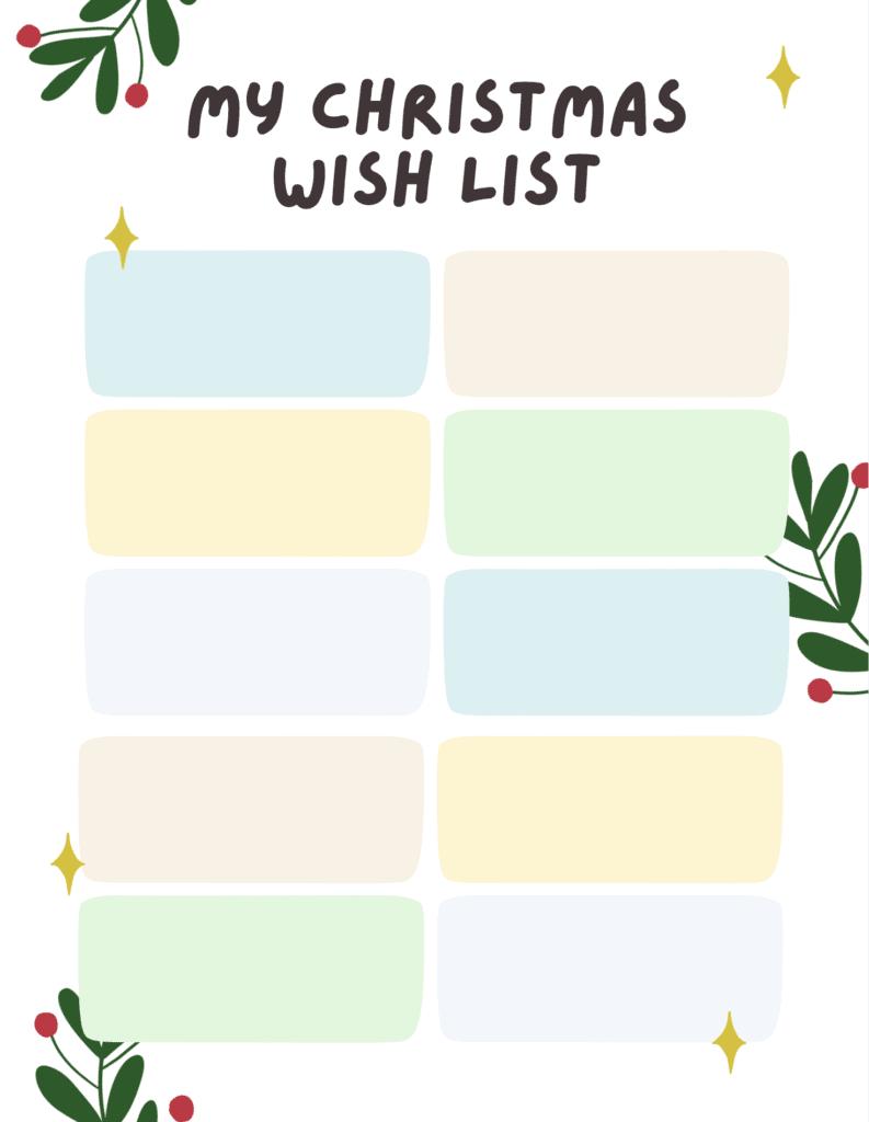 pastel Christmas list template