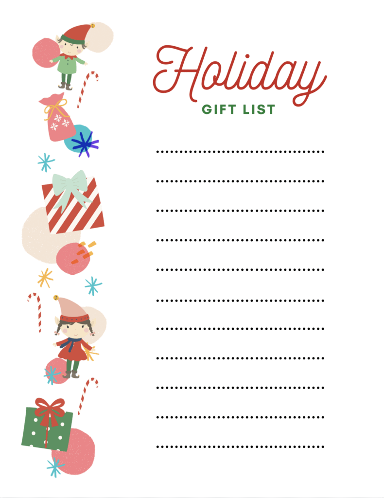holiday gift list with elves and presents