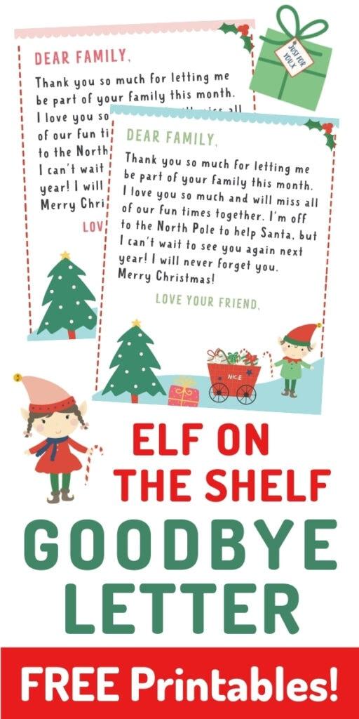 elf on the shelf goodbye letters