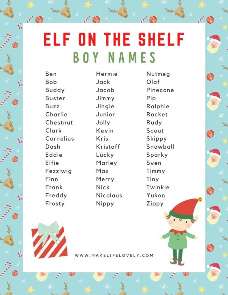 elf on the shelf boy names