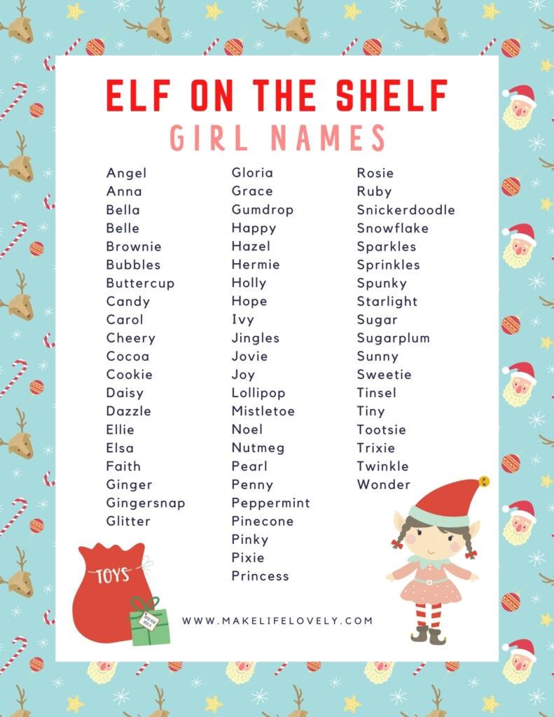 elf on the shelf girl names