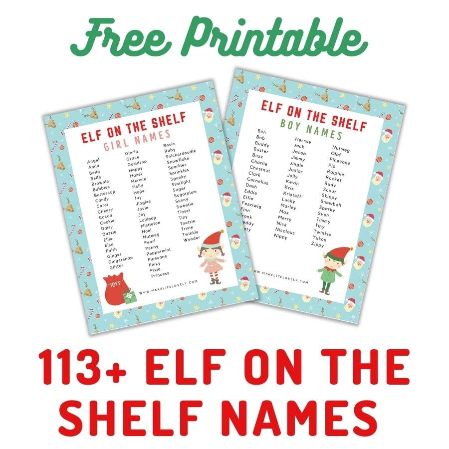 elf on the shelf names printables