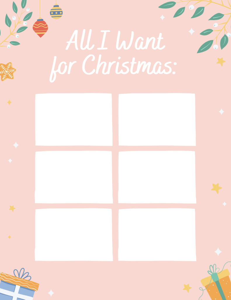 pink Christmas wish list with white boxes